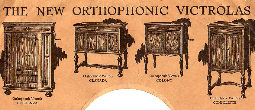 The New Orthophonic Victrolas (1926), specially designed to play the new electrically-recorded 78rpm discs