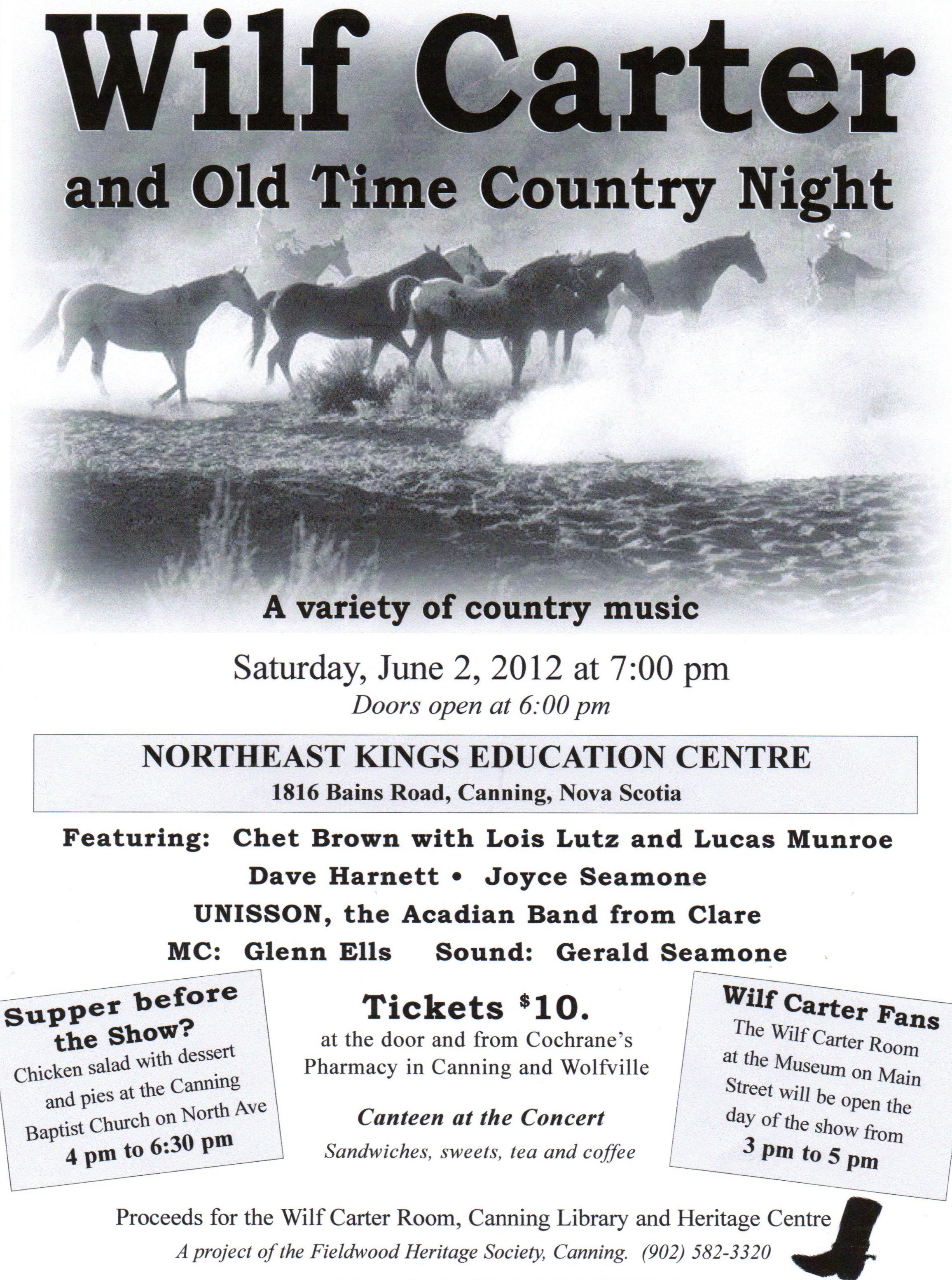 Poster: Fieldwood Heritage Society, Wilf Carter and Old Time Country Night, Saturday, June 2, 2012