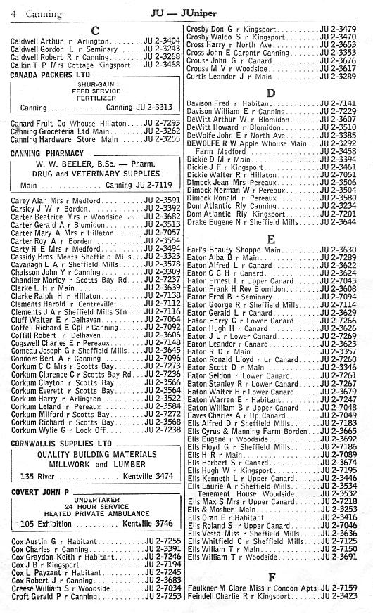 Canning supplementary telephone directory, February 1958, page 4: Caldwell-Feindell