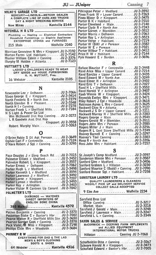 Canning supplementary telephone directory, February 1958, page 7: Milne-Schofield