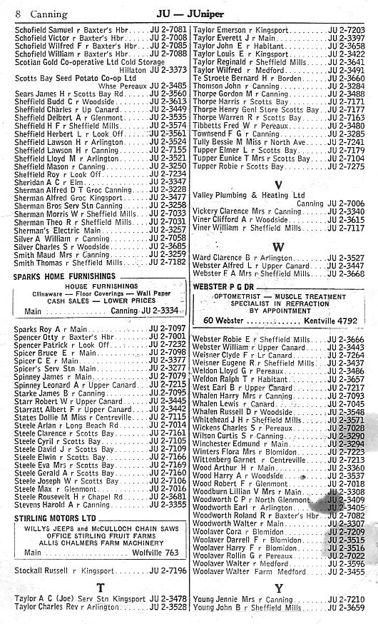 Canning supplementary telephone directory, February 1958, page 8: Schofield-Young