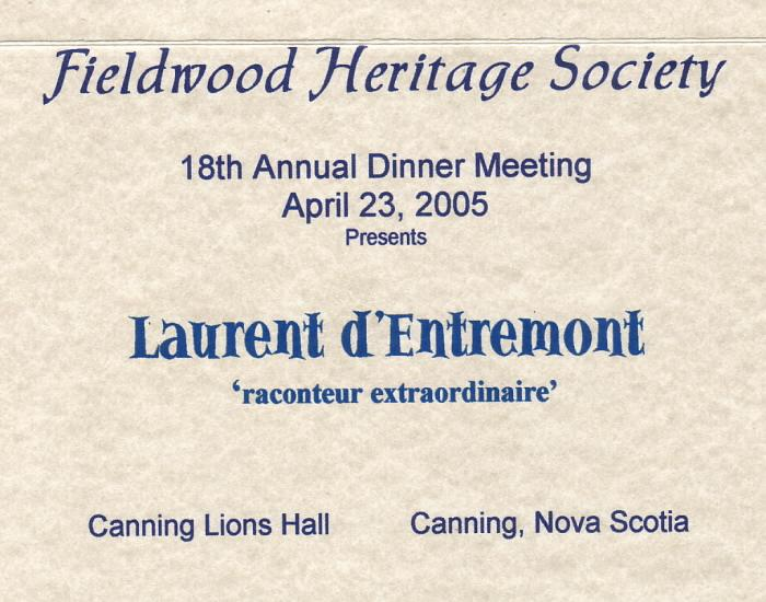 Placecard A: Fieldwood Heritage Society, eighteenth Annual Dinner Meeting, 23 April 2005