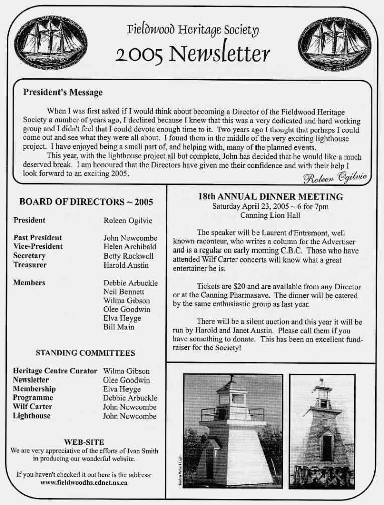 Canning's Fieldwood Heritage Society Newsletter March 2005, page 1