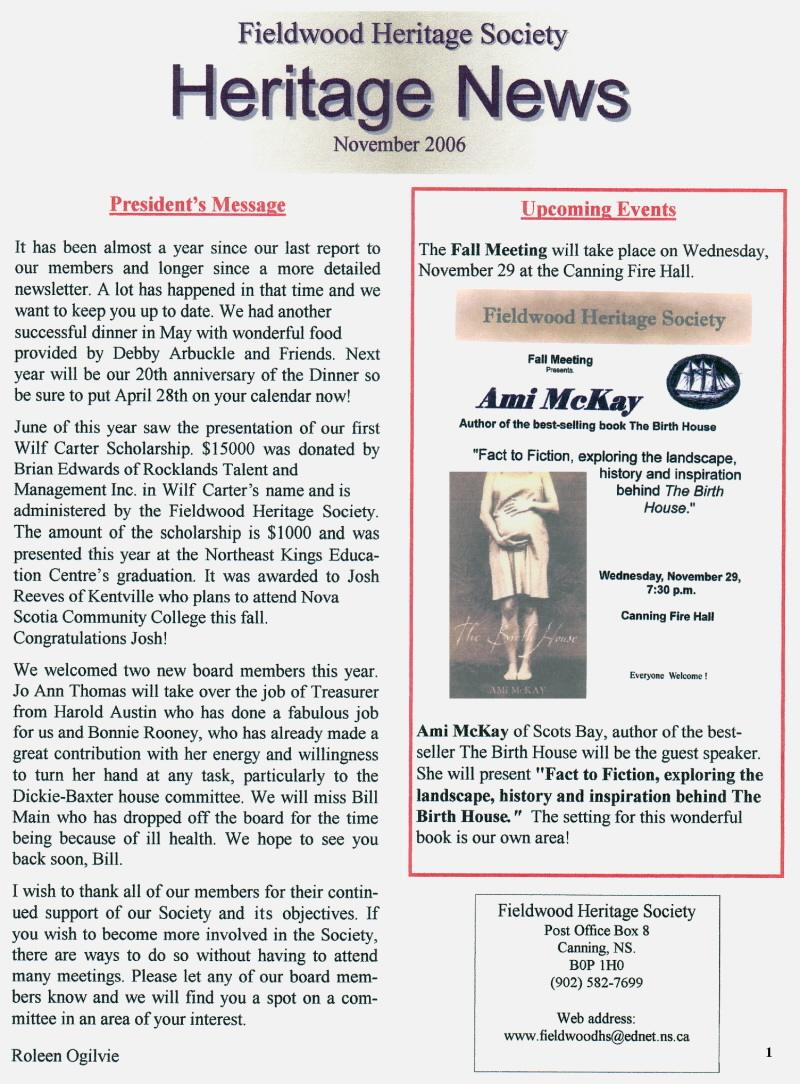 Canning's Fieldwood Heritage Society Newsletter November 2006, page 1