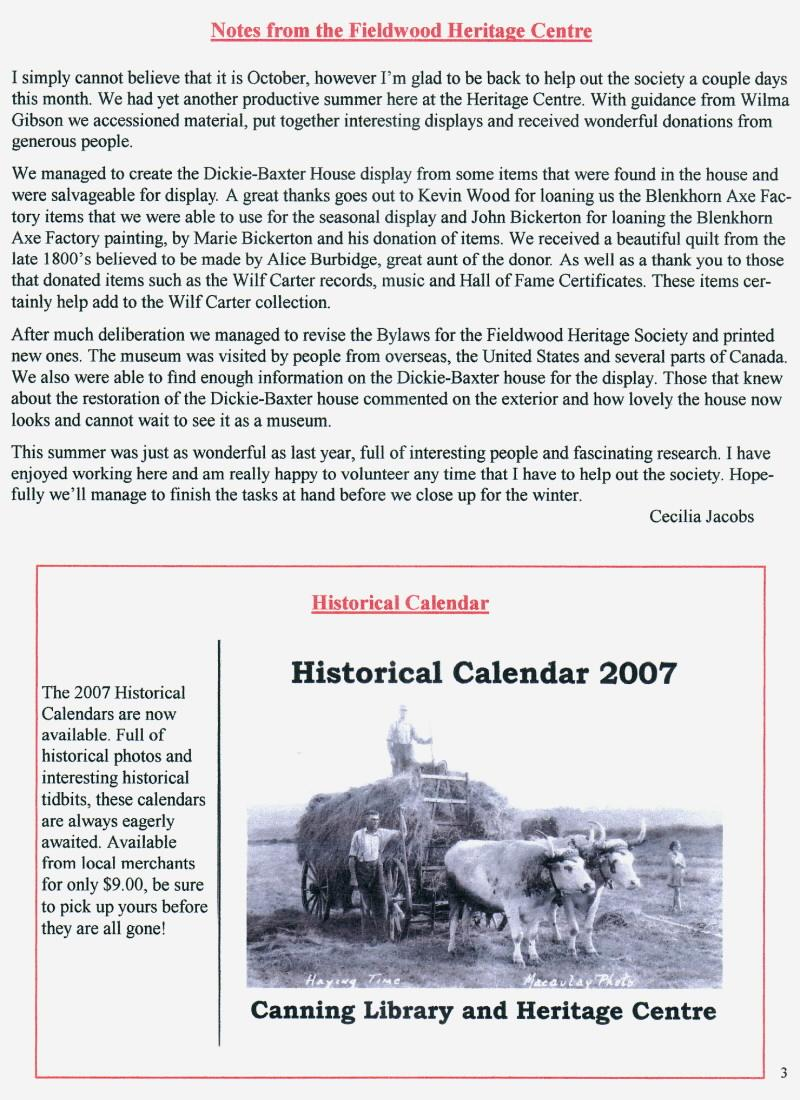 Canning's Fieldwood Heritage Society Newsletter November 2006, page 3
