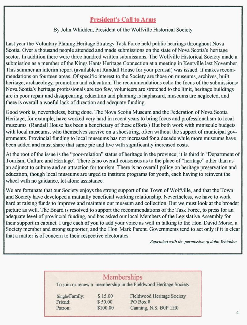 Canning's Fieldwood Heritage Society Newsletter November 2006, page 4
