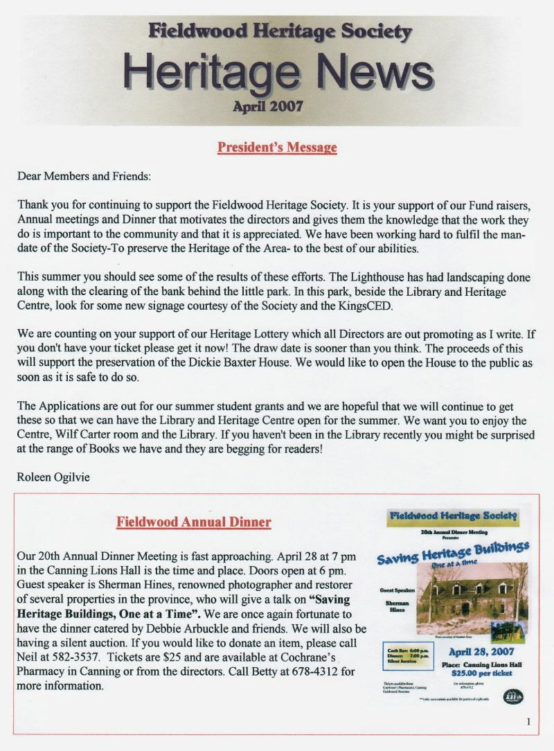 Canning's Fieldwood Heritage Society Newsletter April 2007, page 1