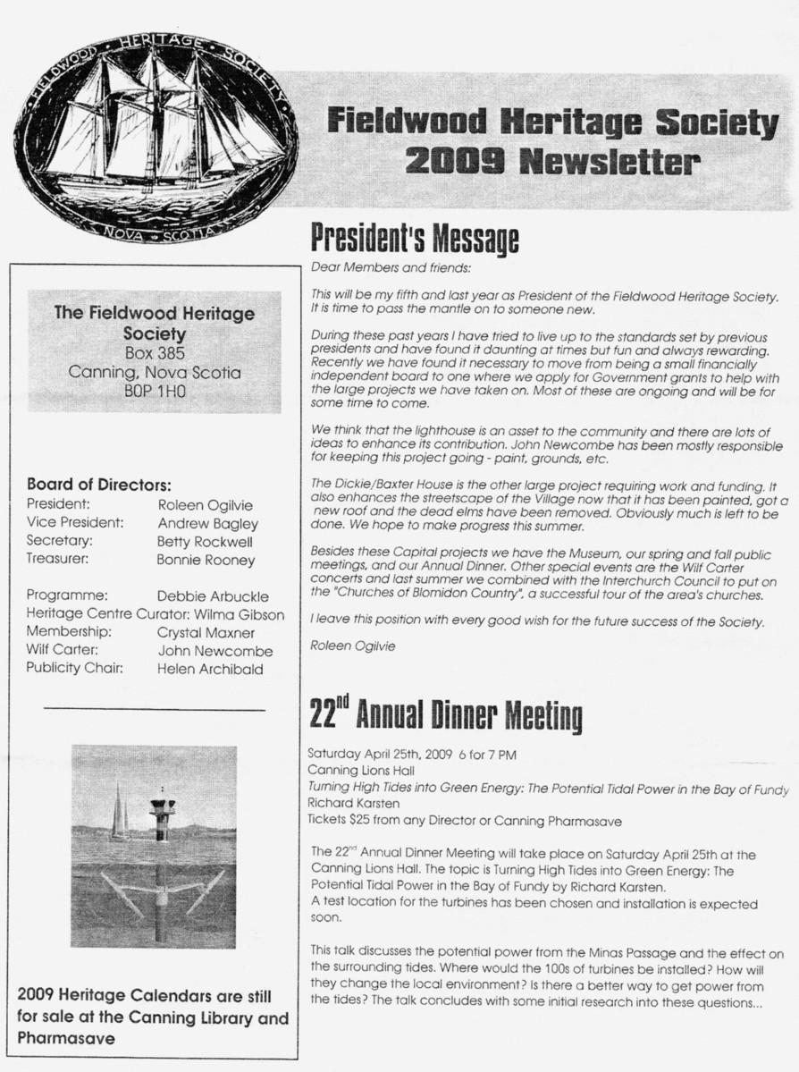 Canning's Fieldwood Heritage Society Newsletter March 2009, page 1