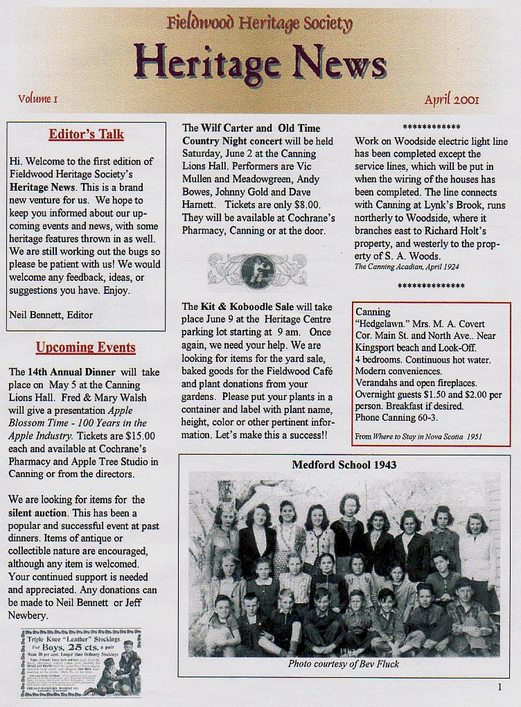 Canning's Fieldwood Heritage Society Newsletter April 2001, page 1