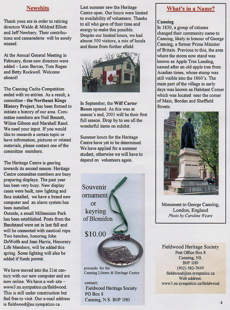 Canning's Fieldwood Heritage Society Newsletter April 2001, page 4