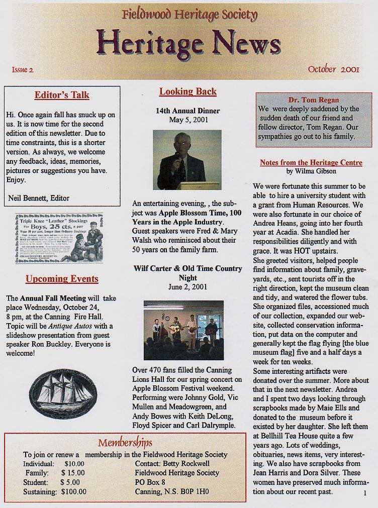 Canning's Fieldwood Heritage Society Newsletter October 2001, page 1