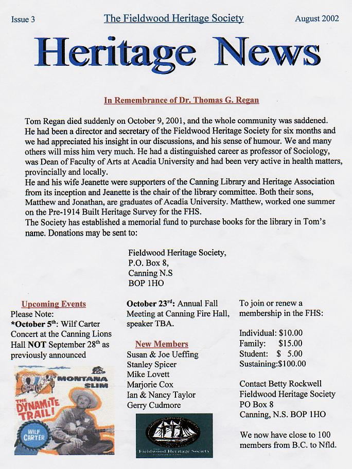 Canning's Fieldwood Heritage Society Newsletter August 2002, page 1