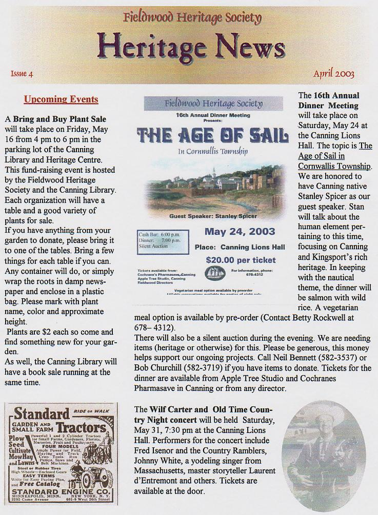 Canning's Fieldwood Heritage Society Newsletter April 2003, page 1
