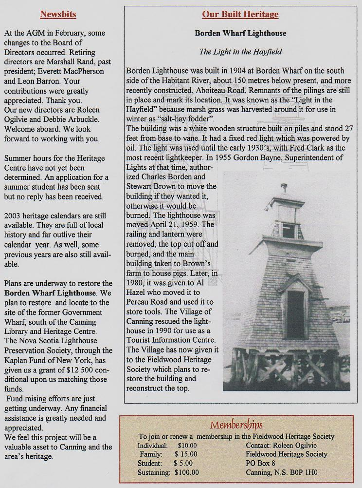 Canning's Fieldwood Heritage Society Newsletter April 2003, page 2