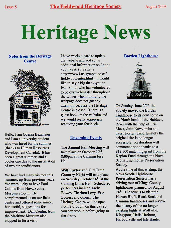 Canning's Fieldwood Heritage Society Newsletter August 2003, page 1