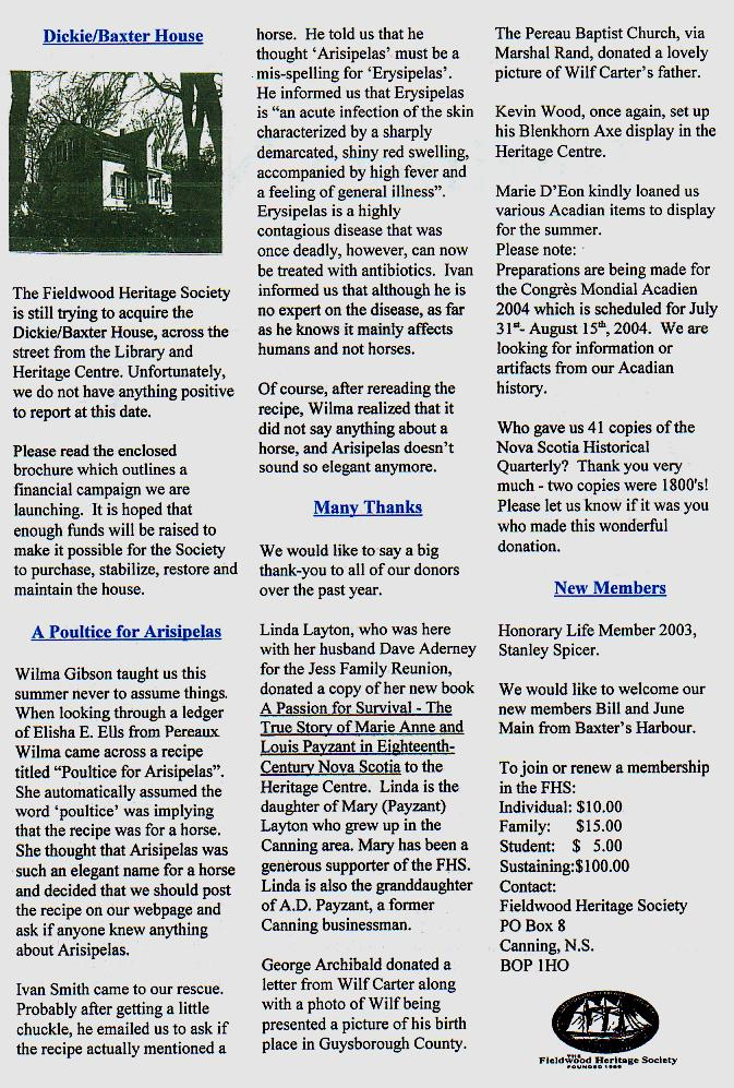 Canning's Fieldwood Heritage Society Newsletter August 2003, page 2