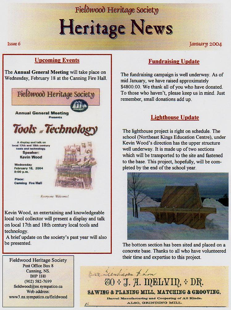 Canning's Fieldwood Heritage Society Newsletter January 2004, page 1