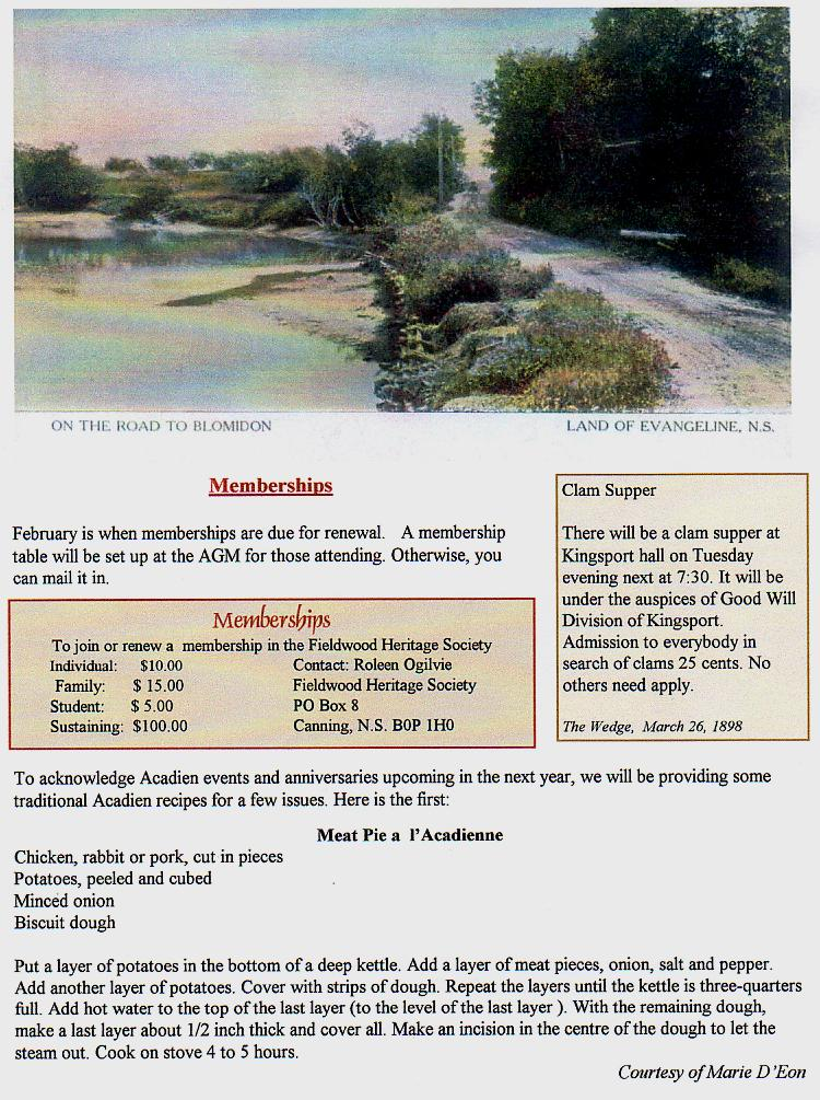 Canning's Fieldwood Heritage Society Newsletter January 2004, page 2