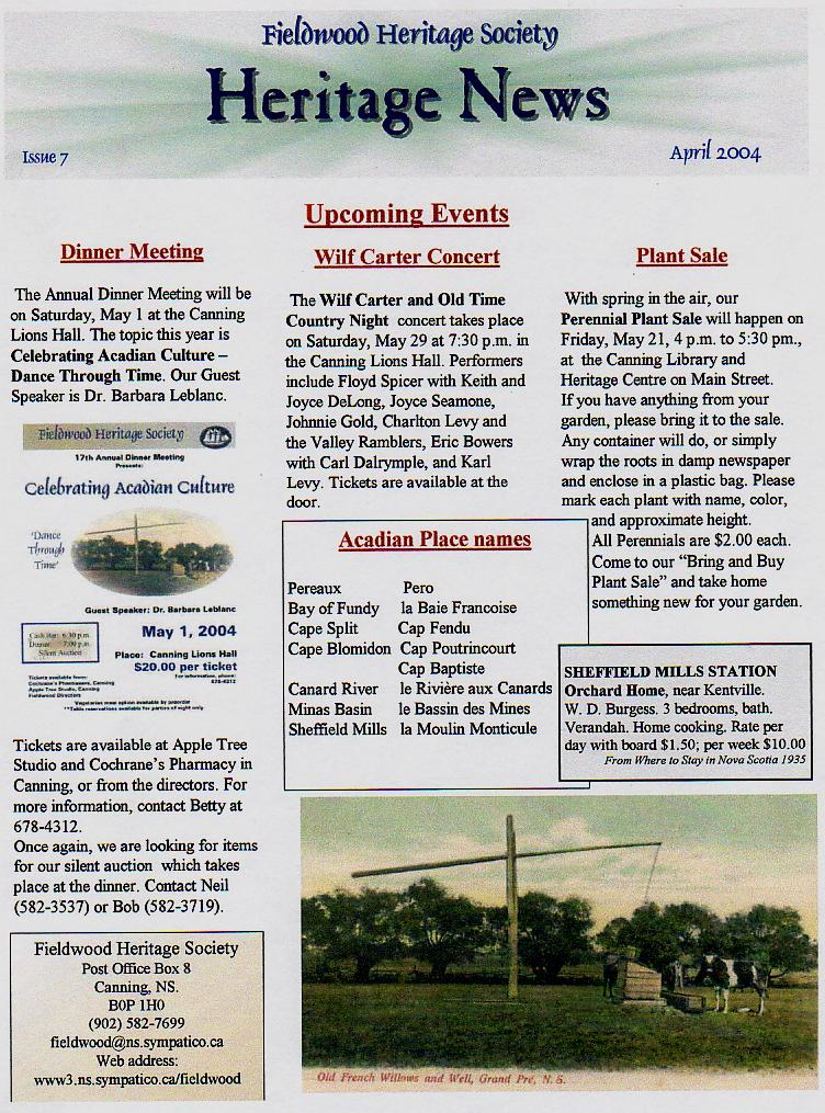 Canning's Fieldwood Heritage Society Newsletter April 2004, page 1