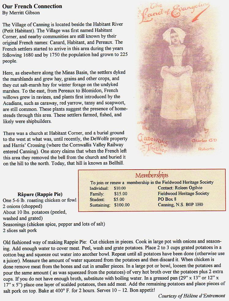 Canning's Fieldwood Heritage Society Newsletter April 2004, page 2