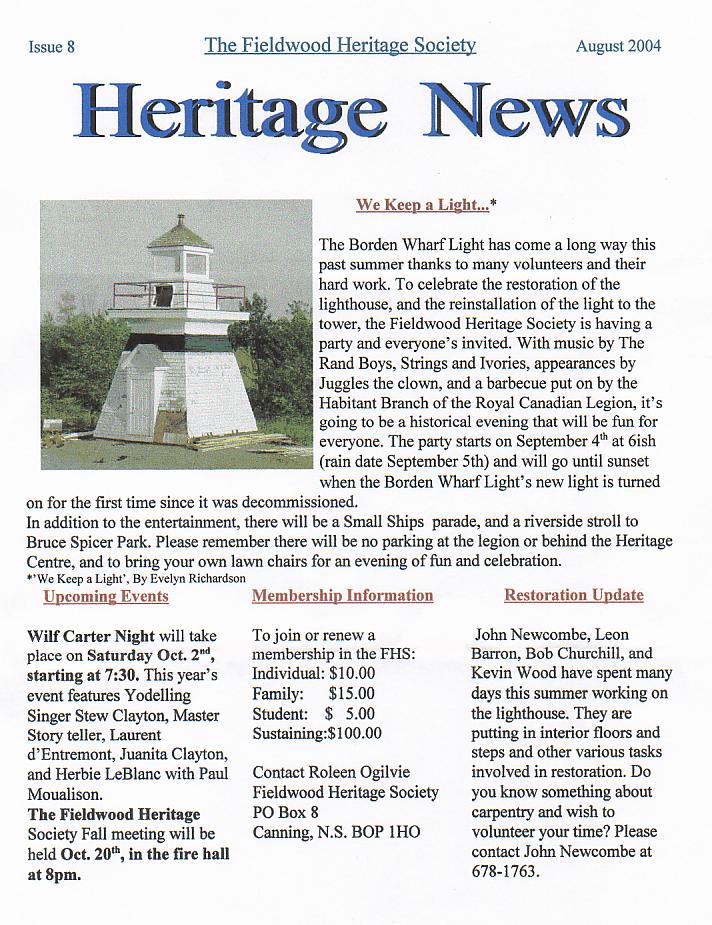 Canning's Fieldwood Heritage Society Newsletter August 2004, page 1