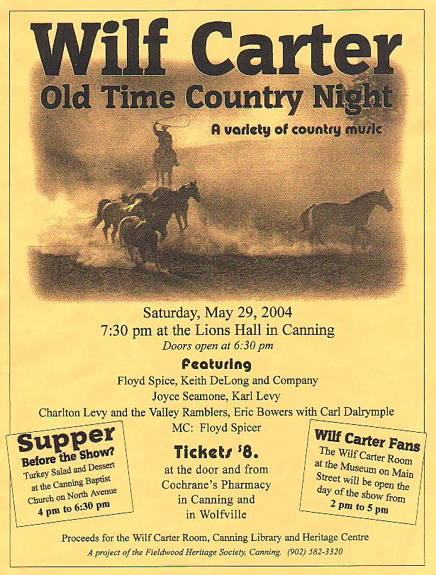 Poster: Wilf Carter Old Time Country Night, 29 May 2004