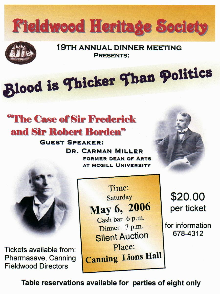Poster: Fieldwood Heritage Society, 19th Annual Dinner Meeting, 6 May 2006