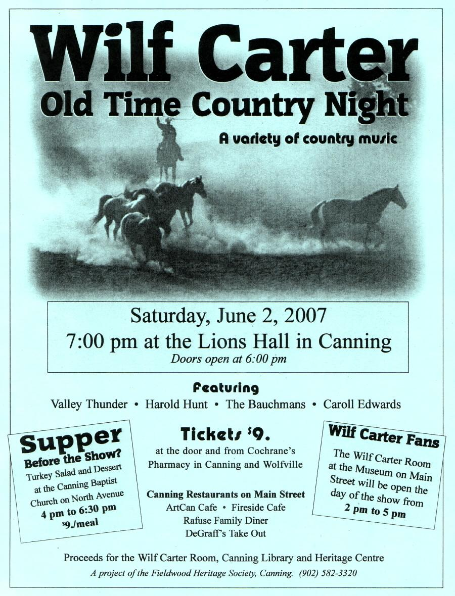 Fieldwood Heritage Society: Poster, Wilf Carter Old Time Country Night, 2 June 2007