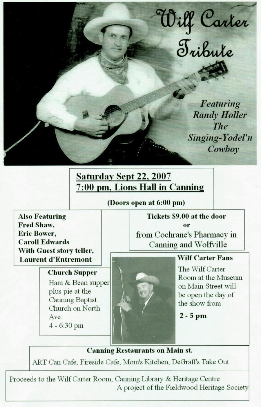 Fieldwood Heritage Society: Poster: Wilf Carter Tribute, 22 September 2007