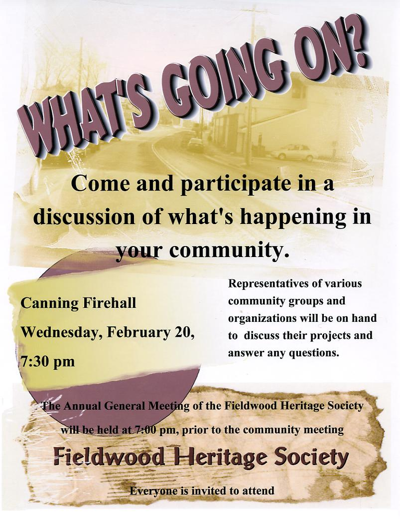 Poster: Fieldwood Heritage Society Annual General Meeting, 20 Feb 2008