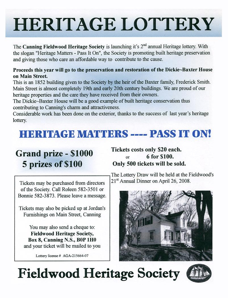 Poster: Fieldwood Heritage Society, 20th Annual Dinner Meeting, 26 April 2008