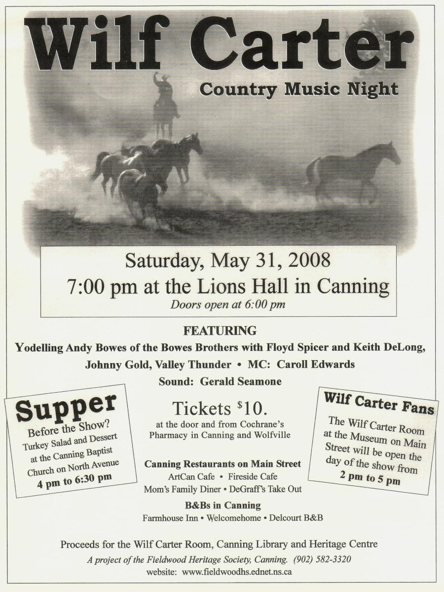 Fieldwood Heritage Society: Poster, Wilf Carter Country Music Night, 31 May 2008