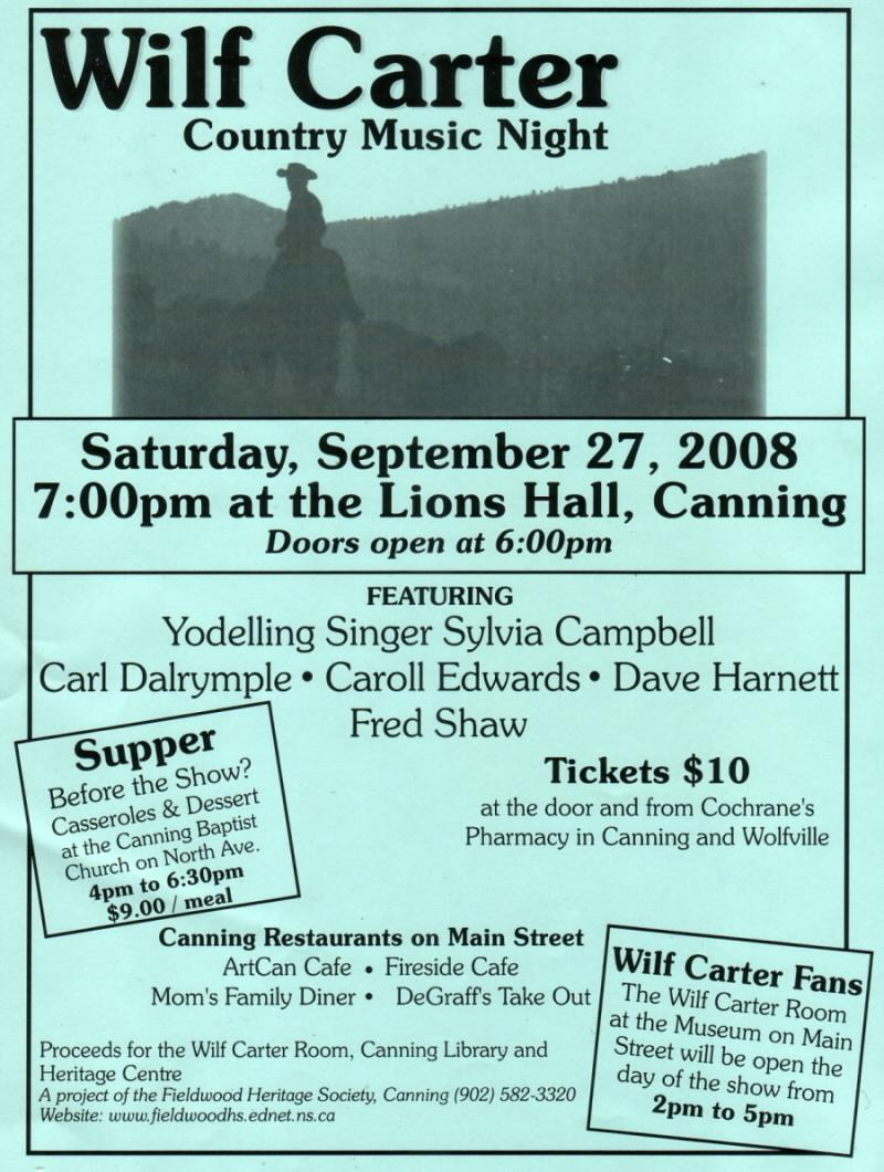 Fieldwood Heritage Society: Poster: Wilf Carter Country Music Night, 27 Sep 2008