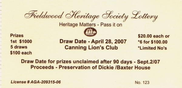Lottery ticket: Fieldwood Heritage Society, drawn 28 April 2007