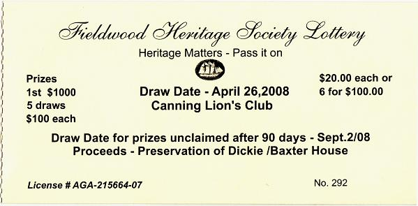 Lottery ticket: Fieldwood Heritage Society, drawn 26 April 2008