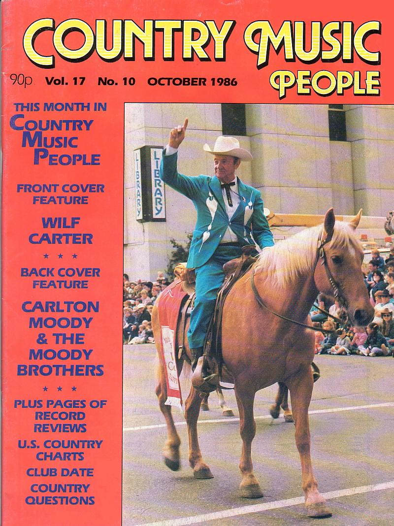 Front Cover Feature, Wilf Carter: Country Music People magazine, October 1986