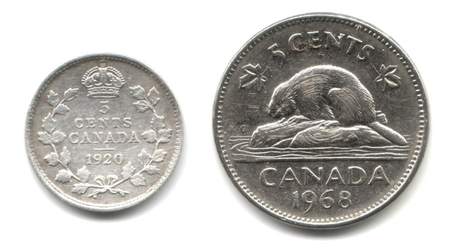 "1920 ""fish scale"" compared with modern five-cent coin"