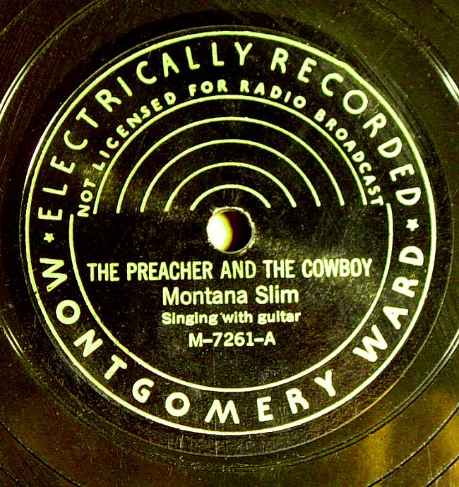 Montana Slim, Montgomery Ward M-7261 78rpm record, The Preacher and the Cowboy