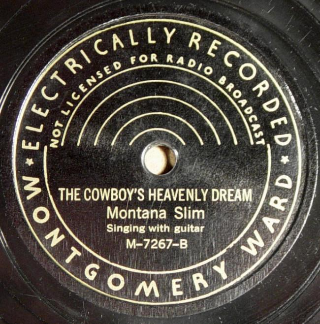 Montana Slim, Montgomery Ward M-7267 78rpm record, The Cowboy's Heavenly Dream