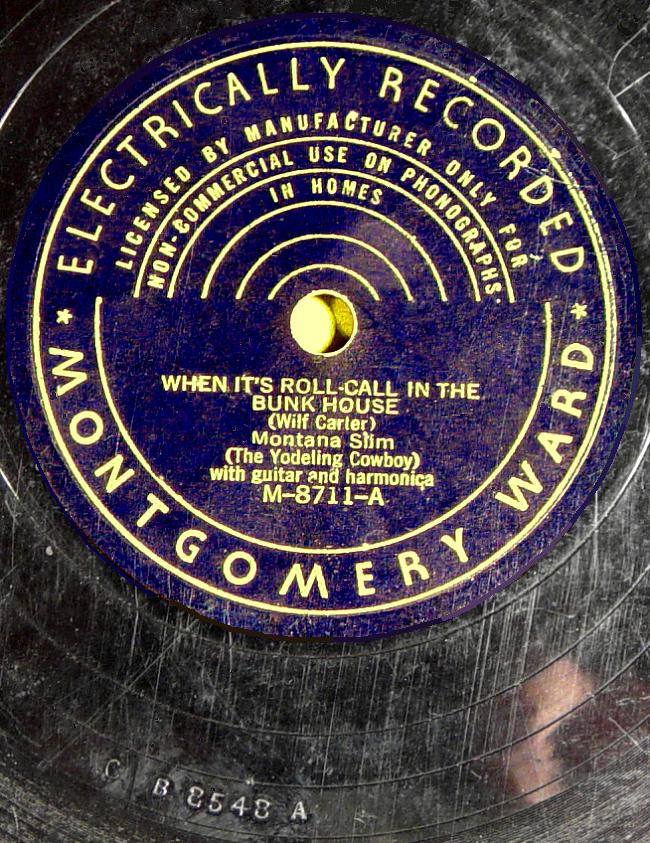 Montana Slim, Montgomery Ward M-8711 78rpm record, When It's Roll-Call in the Bunkhouse