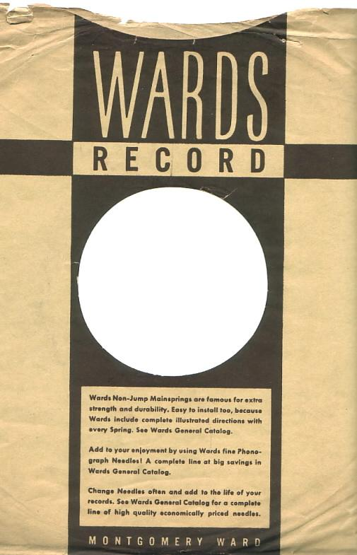 Montgomery Ward envelope for 78rpm records