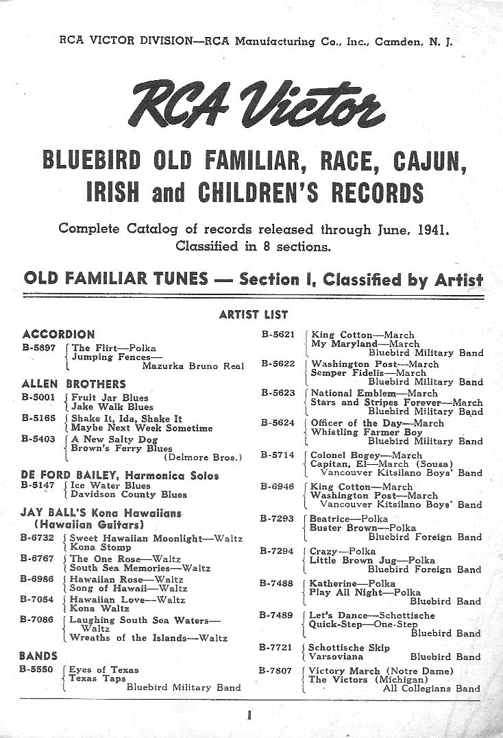 RCA Victor Bluebird Catalog 1941, page 1