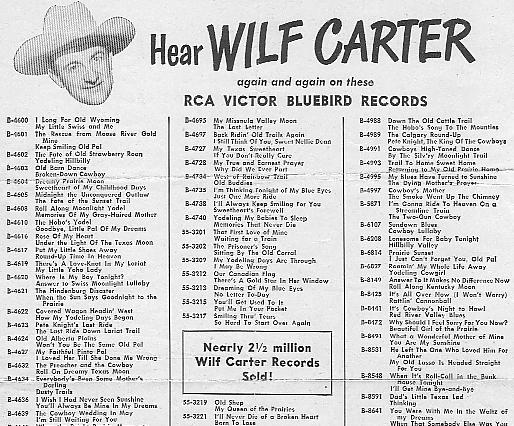 RCA Victor Bluebird - list of Wilf Carter records, circa 1949