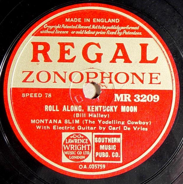 Regal Zonophone MR-3209 78rpm record, Montana Slim, Roll Along Kentucky Moon