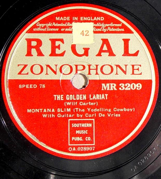 Regal Zonophone MR-3209 78rpm record, Montana Slim, The Golden Lariat