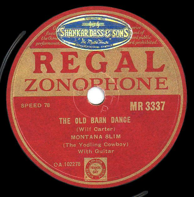Regal Zonophone MR-3337 78rpm record, Montana Slim, The Old Barn Dance