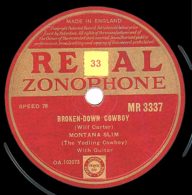 Regal Zonophone MR-3337 78rpm record, Montana Slim, Broken-Down Cowboy