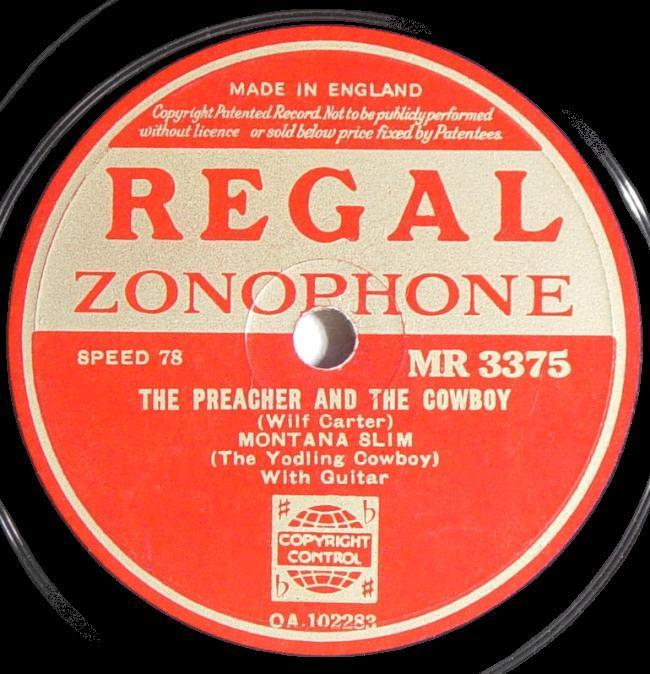 Regal Zonophone MR-3375 78rpm record, Montana Slim, The Preacher and the Cowboy