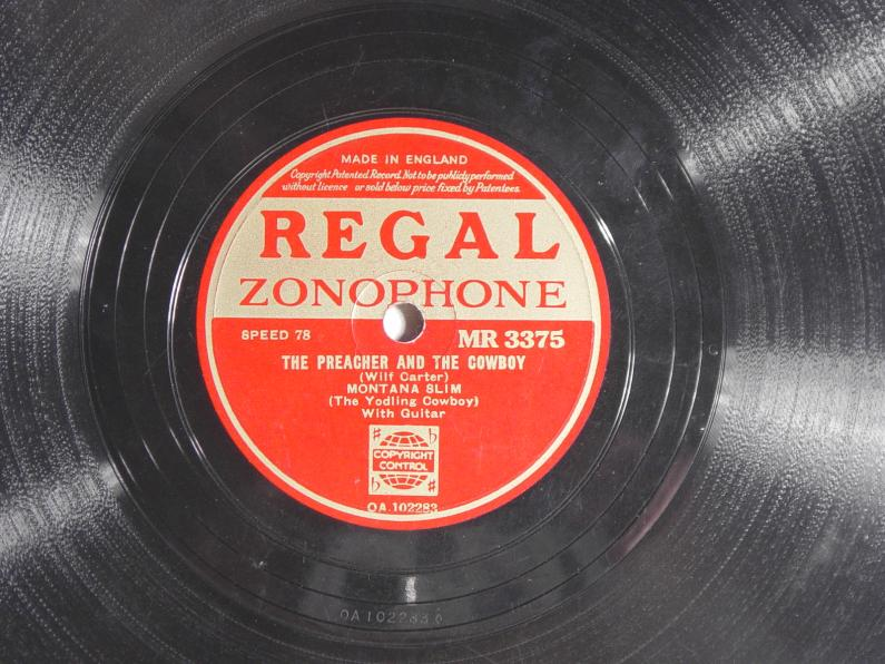 Regal Zonophone MR-3375 78rpm record, Montana Slim