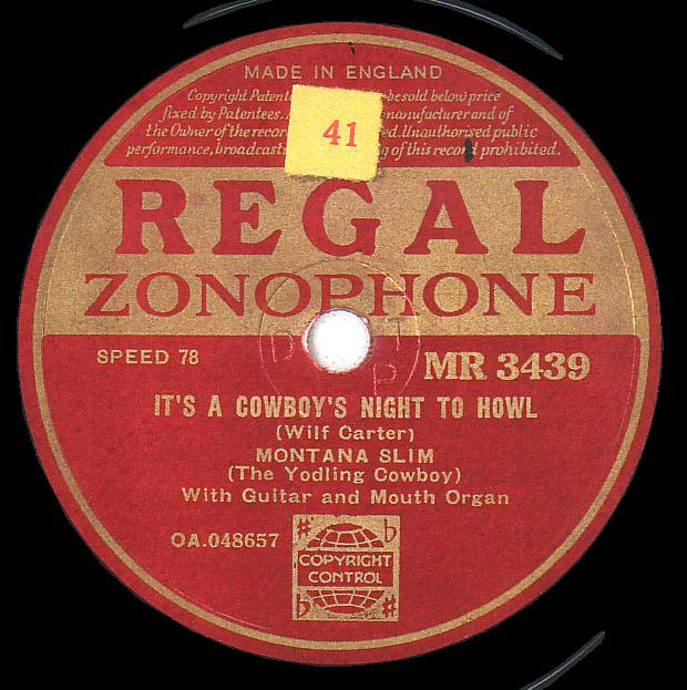 Regal Zonophone MR-3439 78rpm record, Montana Slim, It's a Cowboy's Night to Howl